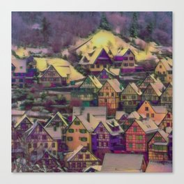 Rustic winter scene A Canvas Print