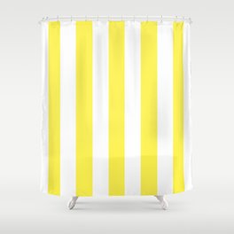 Lemon yellow - solid color - white vertical lines pattern Shower Curtain