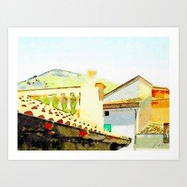 Tortora foreshortening of roofs Art Print