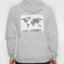 floral world map black and white Hoody
