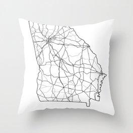 Georgia White Map Throw Pillow