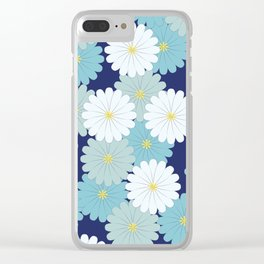 Blue oriental flowers Clear iPhone Case