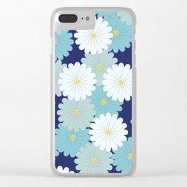 Blue oriental flowers Clear iPhone Case