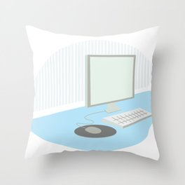 Computer on a desk Throw Pillow