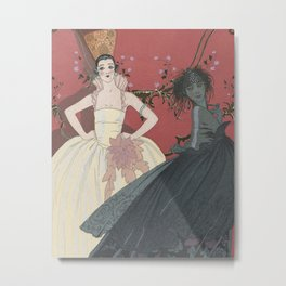 Day and night | Dark and light | Art Deco fashion illustration | Vintage print  Metal Print