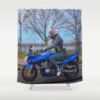 moto Shower Curtains featuring Moto-tastic shot by Fatih