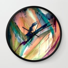 Brave -  a colorful acrylic and oil painting Wall Clock