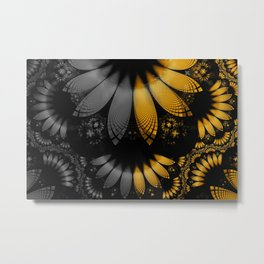 Flared Golden Yellow Feathers amid Black Onyx Metal Print
