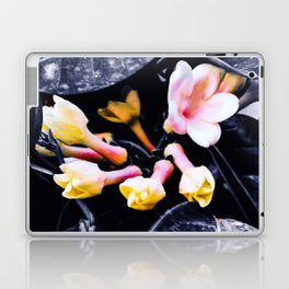black and white leaves pink yellow white flowers jasmine Laptop & iPad Skin