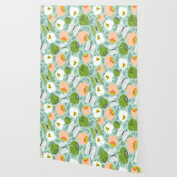 Butterfly Blossom Floral - Sage Green Wallpaper
