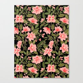 Tropical Pink Floral Pattern Canvas Print