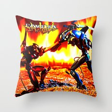 Eva-00 vs Eva-02 photoshoot Throw Pillow