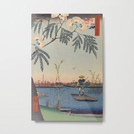 Summer Trees Blossoms and River Ukiyo-e Japanese Art Metal Print