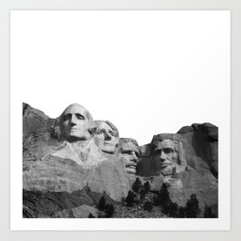Mount Rushmore National Memorial South Dakota Presidents Faces Graphic Design Illustration Art Print