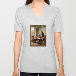 Writing The Declaration of Independence Unisex V-Neck