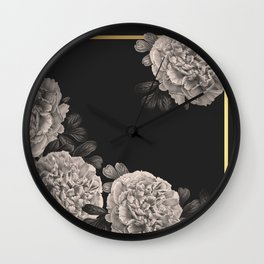 Flowers on a winter night Wall Clock