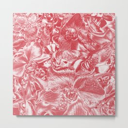 Shimmering floral damask, pink Metal Print