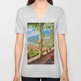 Magnificent Mediterranean Balcony Overseeing Seaside Ultra HD Unisex V-Neck