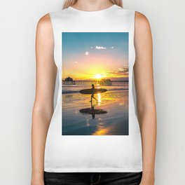 Surf City USA - Little Surfer Girl Biker Tank