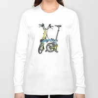 brompton Long Sleeve T-shirts featuring My brompton standing up by Swasky