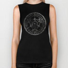 Human Transmutation Circle - silver grunge Biker Tank