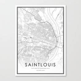 Saint louis City Map United States White and Black Canvas Print