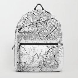Barcelona Map White Backpack