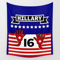 politics Wall Tapestries featuring Hillary 2016 by mailboxdisco