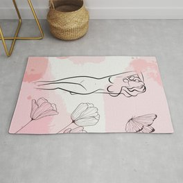 Sexy Nude Woman With Butterfly, Nude Female Body Print, Bedroom Wall Decor, Naked Figure Poster Rug