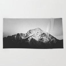 Black and white snowy mountain Beach Towel
