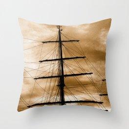 Tall ship mast Throw Pillow