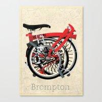 brompton Canvas Prints featuring Brompton Bike by Wyatt Design