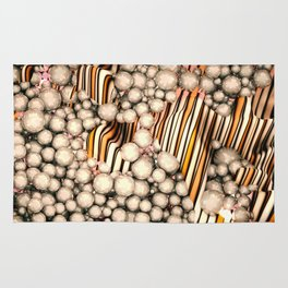 Large group of yellow abstract orbs or pearls or spheres Rug