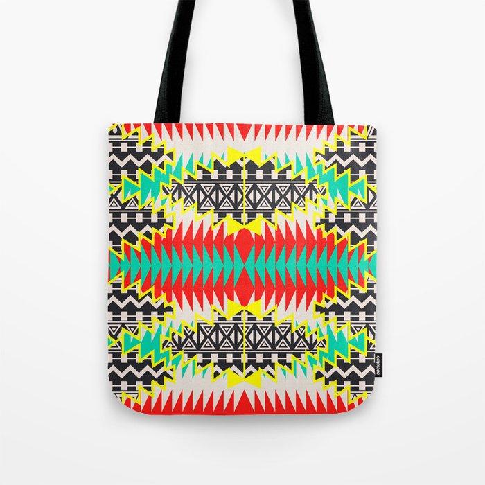 Tribal Beat Geo Neon Tote Bag
