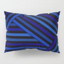 Dark blue striped patchwork Pillow Sham