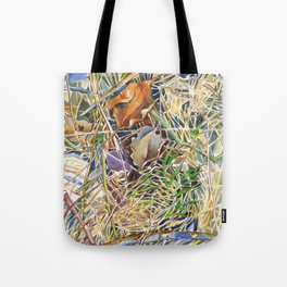 ground beneath my feet in spring: dry leaves, twigs and growing grass Tote Bag