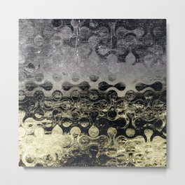 Distressed Silver Gold Multi Pattern Abstract Metal Print