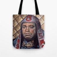 conan Tote Bags featuring Thulsa Doom by Jonathan  Bergeron