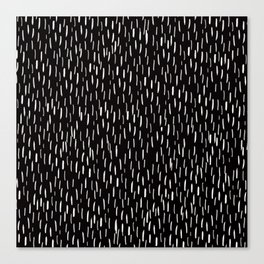 Dark Winter Night- White Strokes Lines on Black - Mix & Match with Simplicity of life Canvas Print