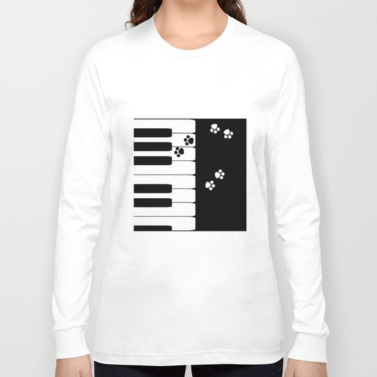The keys of the piano . Creative black and white pattern . Long Sleeve T-shirt