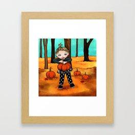 Pumpkin Picking Framed Art Print