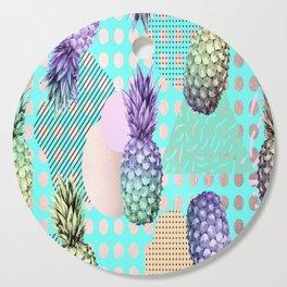 Pineapple Summer Rainbow Rose Gold Cutting Board