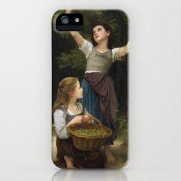 """William-Adolphe Bouguereau """"Récolte de noisettes (Harvest of hazelnuts)"""" iPhone Case"""