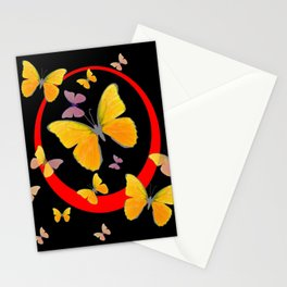 YELLOW BUTTERFLIES & RED RING  ABSTRACT ART Stationery Cards