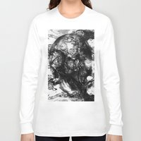 psychadelic Long Sleeve T-shirts featuring Black and White Psychadelic skull print  by Mermaid Seawolf