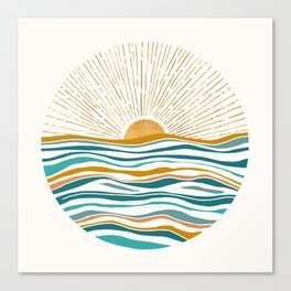 The Sun and The Sea - Gold and Teal Canvas Print
