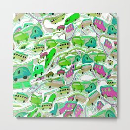 Green Cars All Over Metal Print