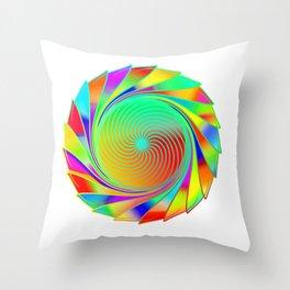 Spiral colorful circle Throw Pillow