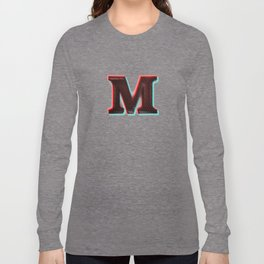Stereoscopic 3D M Initial Letter Long Sleeve T-shirt