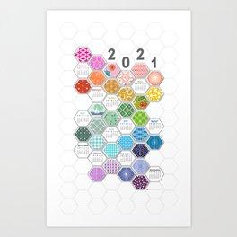 2021 Rainbow Hexies Calendar Art Print